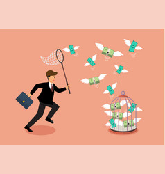 businessman trying to catch flying money vector image