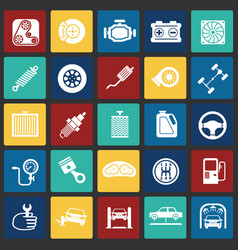 car parts and repair set on color squares vector image