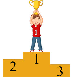 cartoon boy standing on winning podium vector image