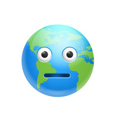 Cartoon earth face shocked emotion icon funny vector