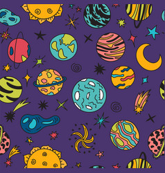 cartoon galaxy with comets asteroids stars and vector image