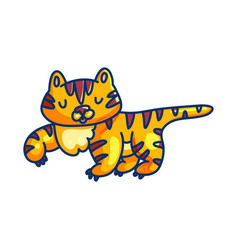 charming cartoon tiger on white background vector image