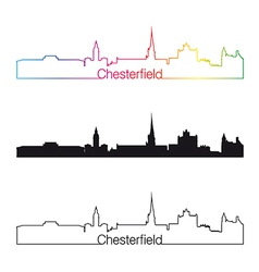 Chesterfield skyline linear style with rainbow vector image