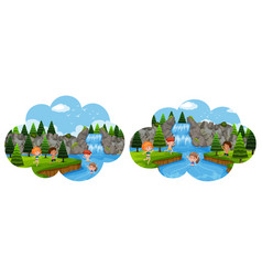 children going on holiday in waterfall vector image