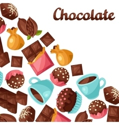 Chocolate background with various tasty sweets vector