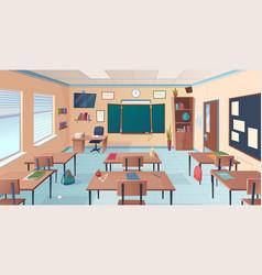 Classroom interior school or college room vector
