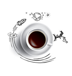 Coffee cup concept - hot coffee mug with space and vector