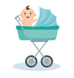 Cute bain stroller vector