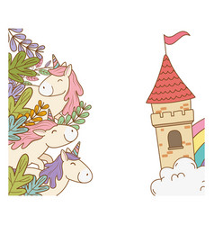 Cute fairytale unicorns with floral decoration and vector