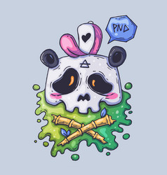 Cute panda skull in a cap cartoon vector