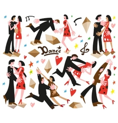dancing couples -cartoons vector image