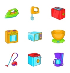 Devices for home icons set cartoon style vector