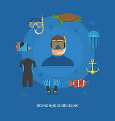 Diving and Snorkeling Concept vector