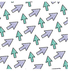 Doodle arrow sign directions icon background vector