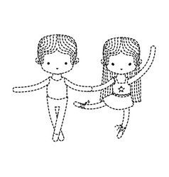 Dotted shape couple practice ballet with vector
