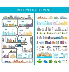 Elements of the modern city or village vector image