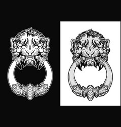 Engraved lion head door knocker hand drawn vector