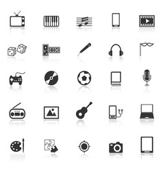 Entertainment icons with reflect on white vector image