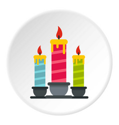 festive candles icon circle vector image
