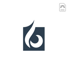 Fire flame logo design or minimal icon isolated vector