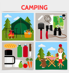 Flat camping square concept vector