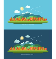 flat design autumn nature landscape vector image