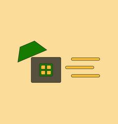Flat icon stylish background wind destroys house vector