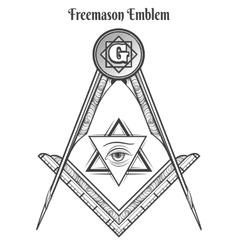 Freemason square and compass symbols vector image
