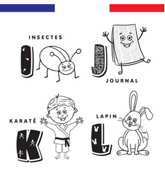 French alphabet insect newspaper karate rabbit vector