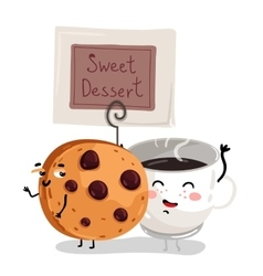 Funny chocolate chip cookie and coffee cup vector