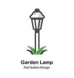 garden lamp outline flat vector image