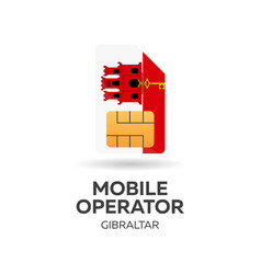 Gibraltar mobile operator sim card with flag vector