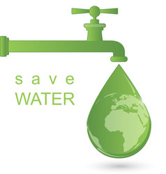 Green water faucet with water drop vector