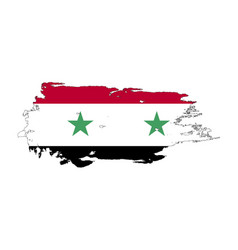 Grunge brush stroke with syria national flag vector