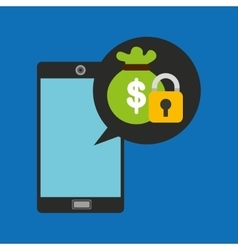 hand holds smartphone padlock bag money vector image