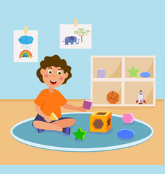 happy little kid is learning 3d geometry vector image