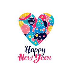 happy new year logo creative template wig heart vector image