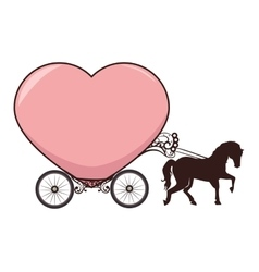Horse carriage romantic card vector