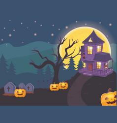 house cemetery pumpkins night halloween vector image