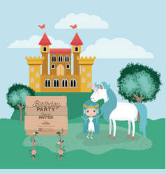 invited birthday party card with unicorn and fairy vector image