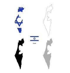 Israel country black silhouette and with flag on vector image