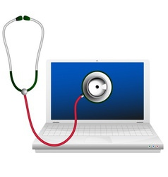 Laptop and stethoscope Computer repair concept vector