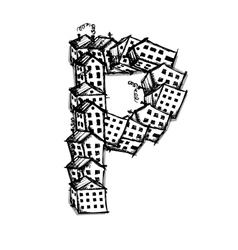 Letter P made from houses alphabet design vector