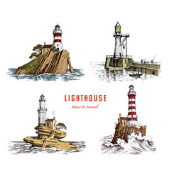 Lighthouse and sea marine sketch nautical vector