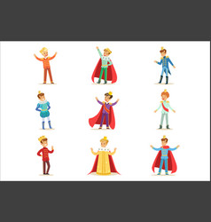 Little boys in prince costume with crown and vector