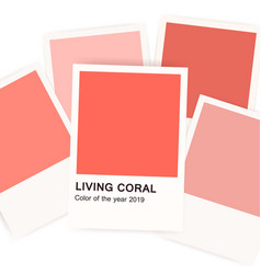 living coral - color of 2019 year banner with vector image
