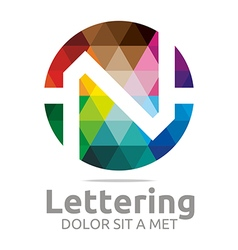 Logo Abstract Lettering N Rainbow Alphabet Icon vector image