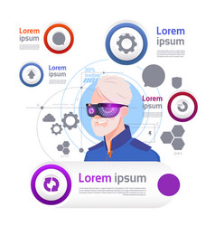 man wearing vr glasses over set of template vector image