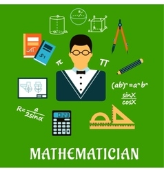Mathematician or teacher with education objects vector