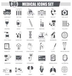Medical black icon set Dark grey classic vector image